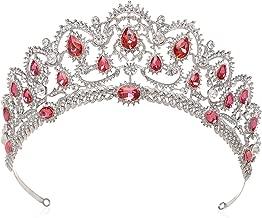 SWEETV Vintage Crystal Wedding Crown for Women Rhinestone Queen Tiara Bridal Hair Accessories, Pink