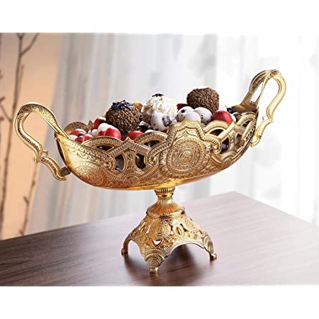 Luxury Decorative Table Centerpiece Bowl For Kitchen Living Room Gold Silver Fruit Bowl Basket Centerpiece For Dining Room Table Candy Serving Bowl For Buffet Wedding Centerpieces Decor Gold 2 Kitchen