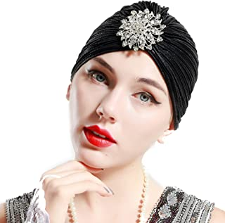 Women's Ruffle Turban Hat Knit Turban Headwraps with Detachable Crystal Brooch for 1920s Gatsby Party