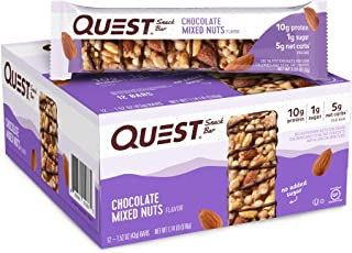 Quest Nutrition Chocolate Mixed Nuts Snack Bar, High Protein, Low Carb, Gluten Free, Keto Friendly,18.24 oz, 1.52 Ounce (P...