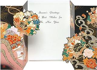 AAP35-1707 和風グリーティングカード/むねかた 金箔 重ね折 「花鼓」(中紙・封筒付) 金箔押し 再生紙