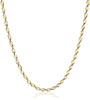 Sterling Silver 18k Gold Two Tone 2.3mm Twisted Butterfly Chain Necklace