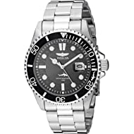 Men's Pro Diver Quartz Watch with Stainless Steel Strap, Silver, 22 (Model: 30018)