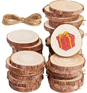 Unfinished Wood Slices, Panamela 40 Pcs 2.0-2.4 Inch Wood Ornaments for Crafts, with Eye Screw for Craft Supplies & Materi...