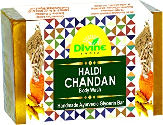 Divine India Premium Haldi Chandan Handmade Soap With Essential Oils, 200 g