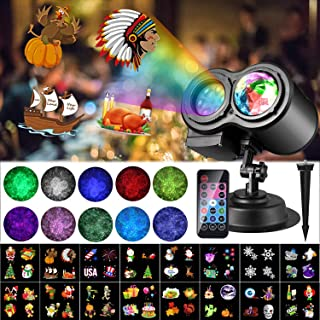 Thanksgiving Christmas LED Projector Lights, LUXONIC 16 Slides Waterproof Outdoor Water Wave & Rotating Gobos Double Projection Light with Remote Control for Thanksgiving Christmas Birthday Holiday