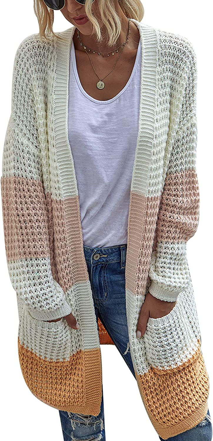 Women Knit Cardigans Long Sleeve Open Front Chunky Cable Knit Cardigan Color Block Striped Solid Color Sweater with Pockets