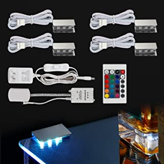 TORCHSTAR Multicolor LED Glass Edge Lighting Kit: 4pcs LED Glass Shelf Lights + Controller + IR Remote + UL Listed Power Adapter for Glass Shelf, Glass Cabinet, Countertop Decorative Lighting