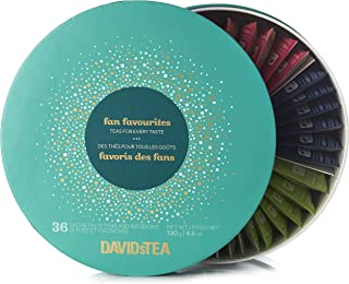 DAVIDsTEA Sachet Tea Wheel Tea Assortment Box, Tea Gift Set, Ready-to-Steep, No Filters Needed, 36 sachets, 4.6 oz (Fan Favorites Limited)