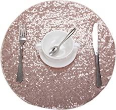 Party Delight Sequin Placemats for Baby Shower Wedding Dining Room Table mats, Set of 6, Rose Gold, 15'' Round