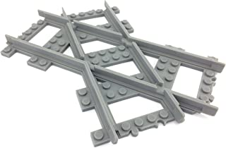 TrixBrix Crossed Tracks 45deg Left Version, Compatible with Lego Train, 3D Printed!