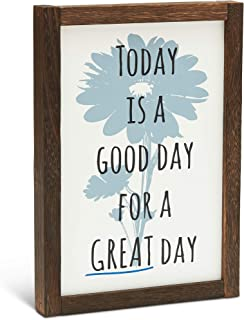 Innovative RS - Rustic Farmhouse Framed Wall Art Decor | Hanging & Standing Desk Sign | Handmade Wooden Picture Frame | Good Day Inspirational Quotes | Perfect for Home, Kitchen & Bathroom | 7