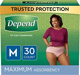 Depend FIT-FLEX Incontinence Underwear For Women, Disposable, Maximum Absorbency, Medium, Blush, 30 Count