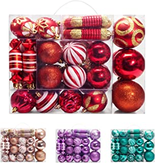 AMS 81ct Christmas Ball Assorted Pendant Shatterproof Ball Ornament Set Seasonal Decorations with Reusable Hand-Help Gift Boxes Ideal for Xmas, Holiday and Party (81ct, Red)