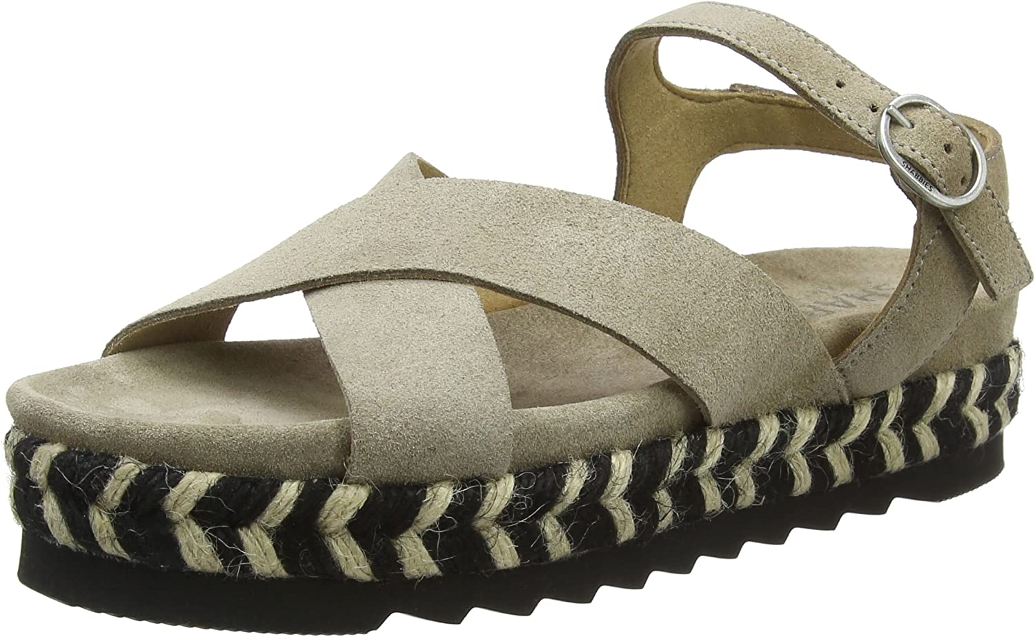 Shabbies Women's Sandale Espadrilles, black (Off Black)