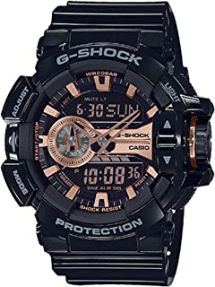 Casio Men's XL Series G-Shock Quartz 200M WR Shock Resistant Resin Color: Glossy Black and Rose Gold (Model GA-400GBX-1A4CR)