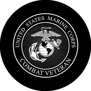 Tire Cover Central Marines Combat Veteran Logo Black & White Spare Tire Cover for 215/70R16 Jeep RV Camper Trailer(Drop Down Size menu