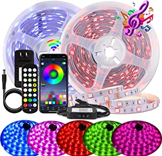 BIHRTC Led Strip Lights 60ft RGB Waterproof Led Light Strip SMD 5050 Music Sync Color Changing with APP Controller and Rem...