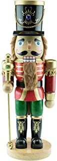 Clever Creations Traditional Wooden Nutcracker - Fully Functional Nutcracker That Actually Cracks Nuts - Festive Christmas Decor - 17 Inches Tall - Perfect Holiday Decoration for Shelves and Tables