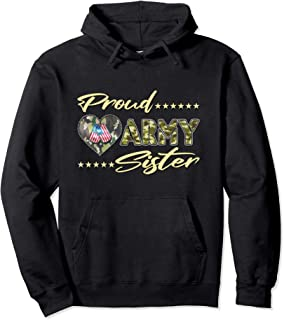 Proud Army Sister - US Flag Dog Tag Family Military Sibling Pullover Hoodie