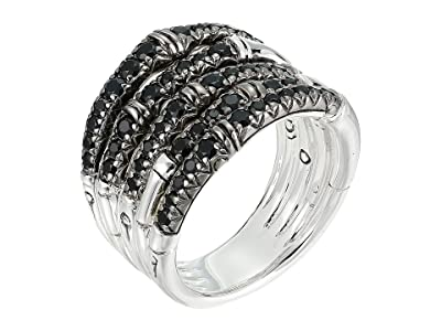 John Hardy Bamboo Ring with Black Sapphire (Silver) Ring