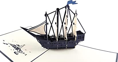 iGifts And Cards Unique Clipper Ship 3D Pop Up Greeting Card - Sailboat, Ocean, Ship, Wow, Blue, Nautical, Fun Half-fold Happy Birthday, Just Because, Special Days, Retirement, Graduation, Friendship