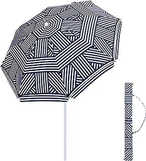 SONGMICS 6.5 Feet Fiberglass Beach Umbrella, Heavy Duty Outdoor Sports Umbrella, Sun Shade with Tilt Mechanism, Carry Bag - for Beach, Gardens, Balcony and Patio, Blue and White UGPU65UW