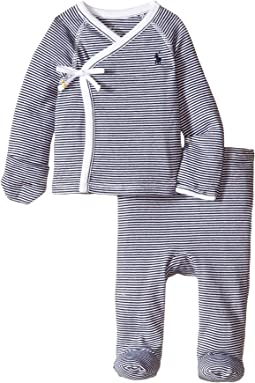 Yarn-Dyed Stripe Kimono Two-Piece Pants Set (Infant)