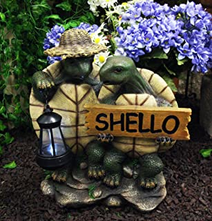 Ebros Gift Nautical Night Explorers Tortoise Lovers with Straw Hat Carrying Solar LED Lantern Light and SHELLO Greeting Sign Statue 15.25