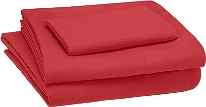 amazonbasics Kid's Sheet Set - Soft, Easy-Wash Lightweight Microfiber - Twin, Red