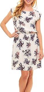 فستان صيفي للنساء - فساتين متوسطة الطول غير رسمية زهرية سادة للنساء مع جيوب