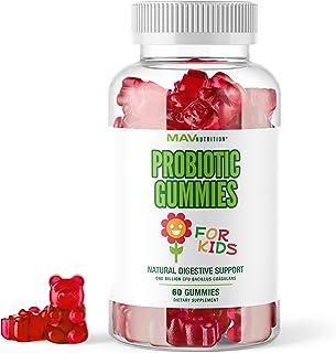 MAV Nutrition Probiotics for Kids Vitamins - Flora Health Support Gummies with 2 Billion Live Probiotic Cultures Fiber Sup...