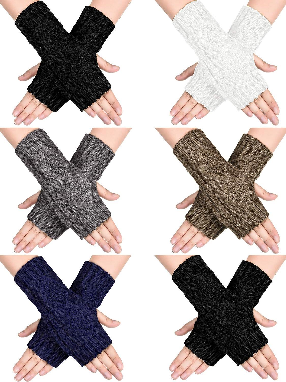 4 Pairs Women Winter Warm Knit Fingerless Gloves Thumbhole Arm Warmers Mittens