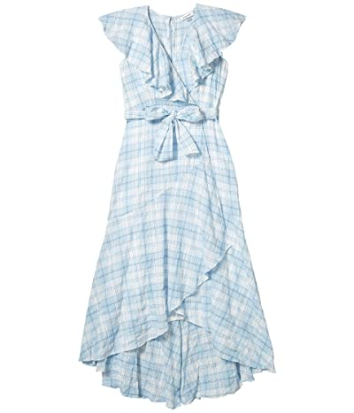 Calvin Klein Belted Plaid Dress with Ruffle Collar (Chambray/White Multi) Women