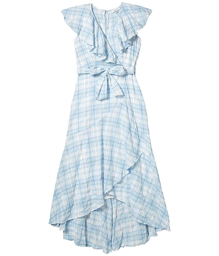 Belted Plaid Dress with Ruffle Collar (Chambray/White Multi) Women's Dress