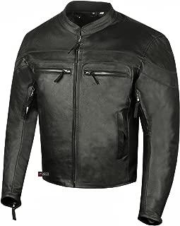 Men's Throttle Classic Leather Motorcycle Street Cruiser Armor Biker Jacket XL
