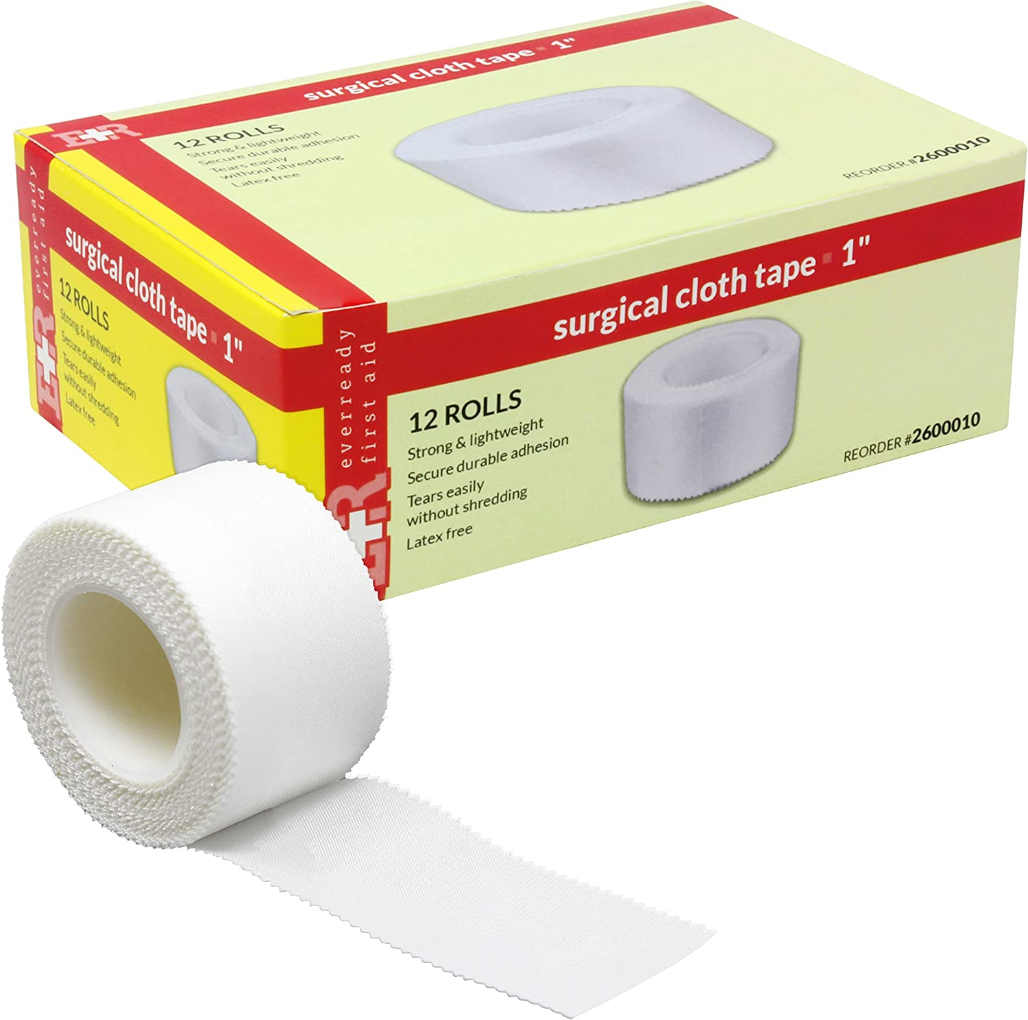 """Ever Ready First Aid Adhesive Silk Cloth Tape- Latex Free, 1"""" x 10 yds - Box of 12: Health & Personal Care"""