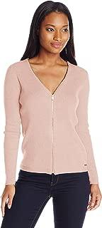 Women's Ribbed Zipper-Front Cardigan Sweater