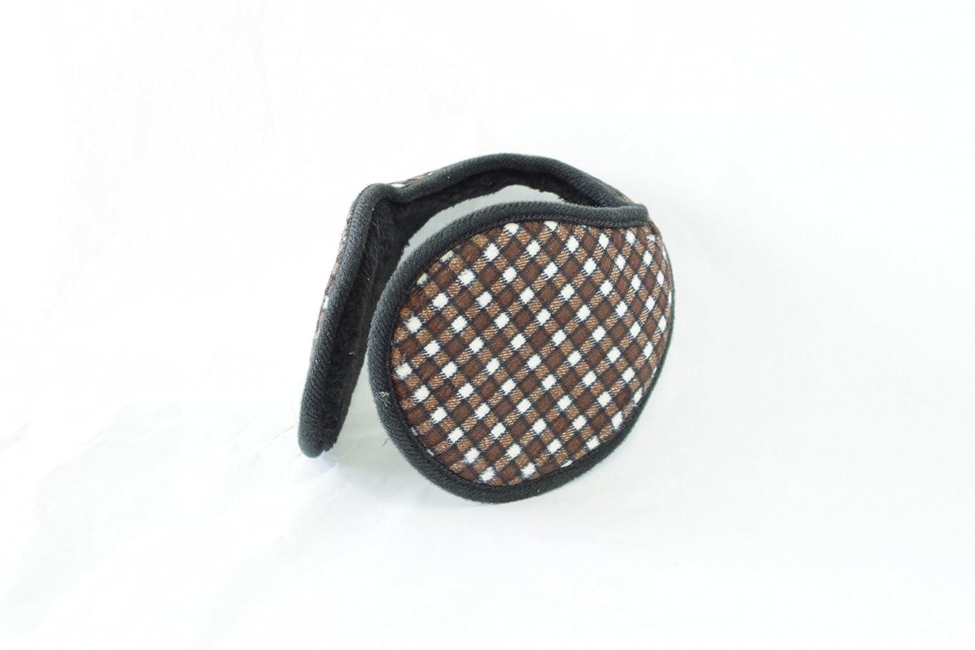 テラス日食おもてなしTPOS イヤーマフ 耳あて 耳カバー シンプル コンパクトなイヤウォーマー チェック柄 6色 (茶×白)