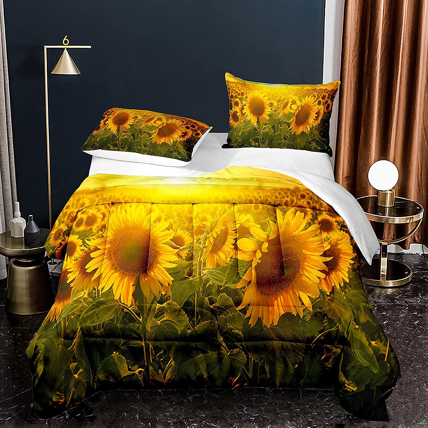 Sunflower Las Vegas New Free Shipping Mall Sunset Bedding Comforter Set Flowers Floral Size Queen