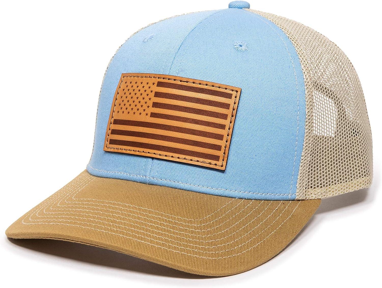 American Flag USA Genuine Leather Patch Mesh Back Trucker Hat - Adjustable Snapback Baseball Cap for Men & Women