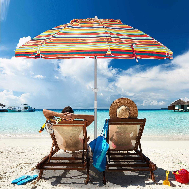 MEWAY メイルオーダー お歳暮 6.5ft Beach Umbrella with Po Sand Anchor Mechanism Tilt