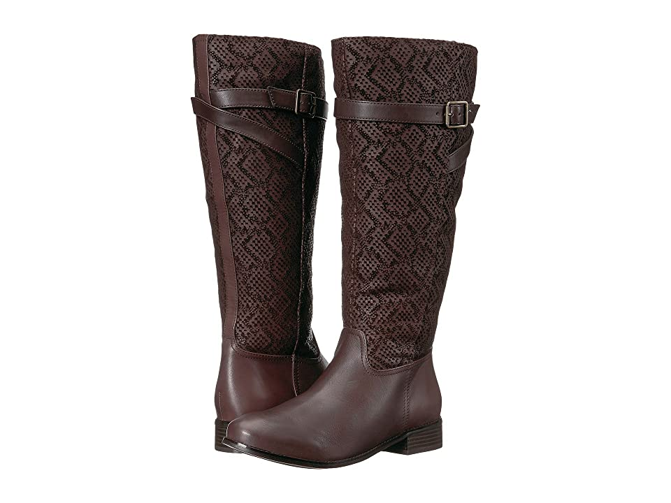 Trotters Lyra Wide Calf (Dark Brown Embossed Snake/Leather) Women