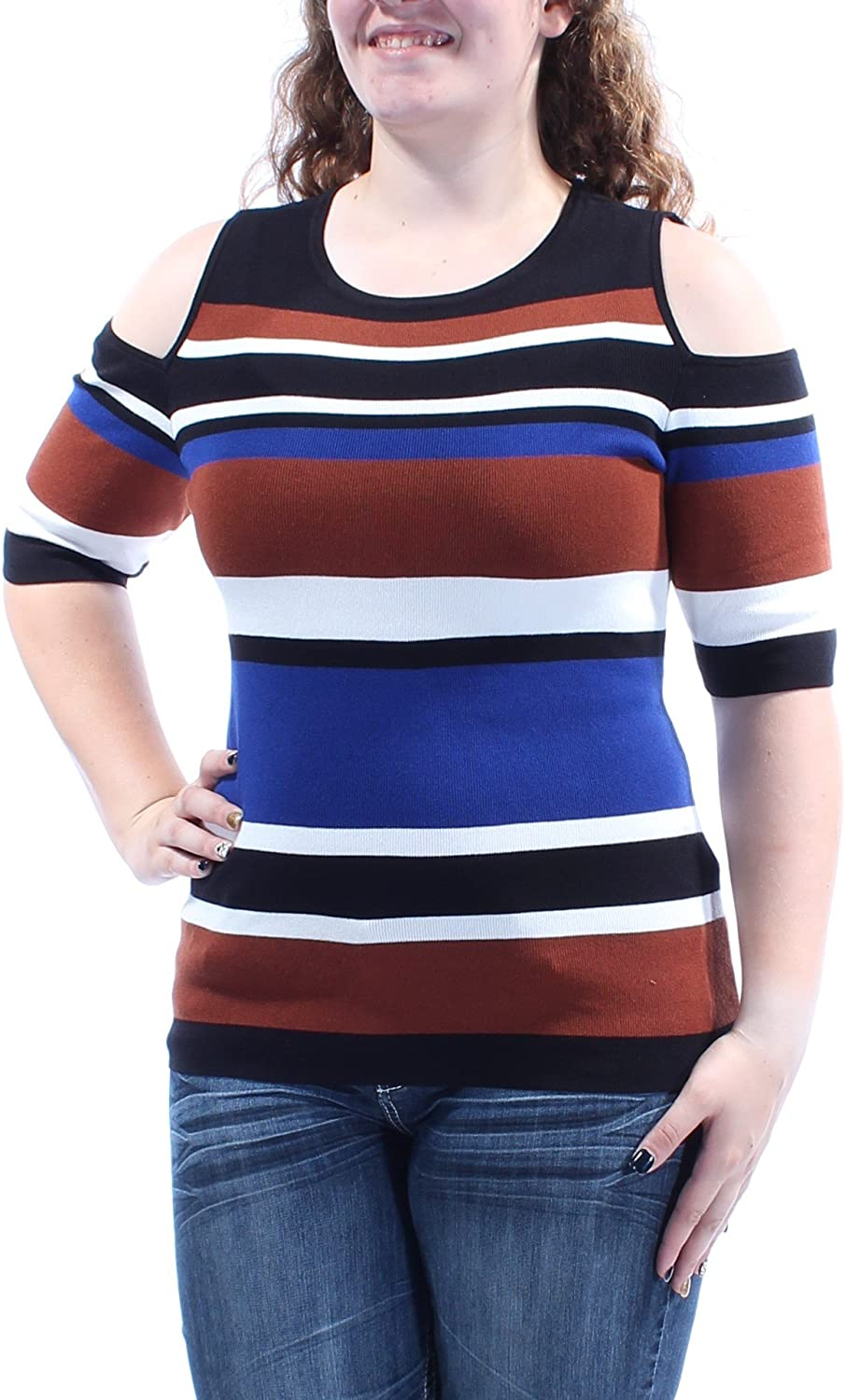 INC Womens Cold Shoulder Striped Pullover Sweater Multi XL Blue