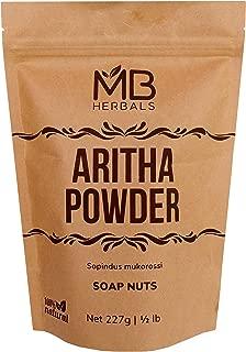 MB Herbals Aritha Powder 227g | Half Pound | 100% Pure & Organic Soap Nut Powder | Natural Hair Shampoo & Conditioner | Sapindus mukorossi