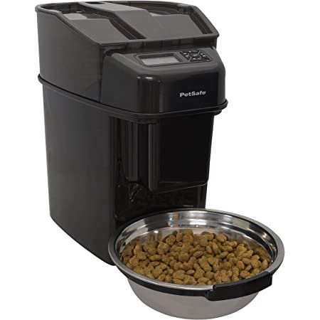 PetSafe Healthy Pet Simply Feed Automatic Cat Feeder for Cats and Dogs - 24 Cups Capacity Pet Food Dispenser with Slow Feed and Portion Control (12 Meals per day) - Includes Stainless Steel Bowl