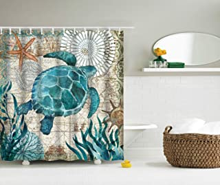 BJHAP Sea Turtle Shower Curtain,Ocean Creature Landscape Design, Cloth Fabric Bathroom Decor Set with 12 Plastic Hooks 72 X 72 inch Long Extra