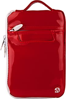 Vangoddy Hydei Patent Leather Bag Sleeve Carrying Case for Visual Land Prestige Elite Pro 8Q, Pro 8D 8 inch Tablets (Red)