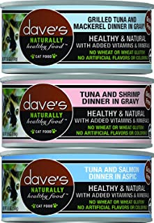 Dave's Pet Food Naturally Healthy Grain-Free Canned Cat Food Mixed 5.5 oz x 18 cans - Tuna & Mackerel, Tuna & Shrimp, Tuna & Salmon