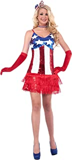 Forum Novelties Women's Patriotic Sequin Sparkle Costume Dress